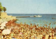 Пляж «Аркадия». Цветное фото А. Подберезского из набора открыток достопримечательностей Одессы, 1963 г.