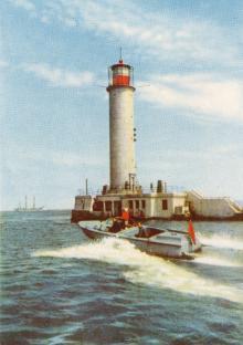 Маяк. Цветное фото О. Малаховского и Б. Канера из набора открыток достопримечательностей Одессы, 1963 г.