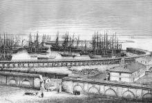Одесский порт. Рисунок по фотографии художника Барклая. 1880 г.
