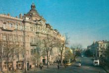На вулиці Дерибасівській. Фото Р. Папік,яна на листівці з комплекту «Одеса». 1982 р.