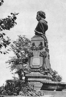 Одеса. Пам,ятник О.С. Пушкіну. Фото на поштовій листівці з комплекту «Одеса». 1955 р.