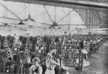 В одном из цехов Одесского кабельного завода, построенного после войны. Фотография в книге «Одесса, очерк истории города-героя», 1957 г.