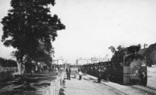 Одесса. Поезд, отправляющийся на Фонтан. Станция на Итальянском бульваре. Открытое письмо. Фототипия Отто Ренар