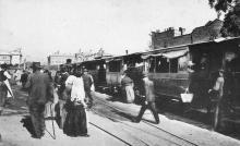 Одесса. Поезд, прибывающий с Фонтана. Станция на Итальянском бульваре. Открытое письмо. Фототипия Отто Ренар