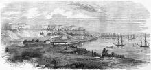 Одесса. Вид на город и Бульварную лестницу со стороны таможни. Рисунок в газете «L'illustration». 1856 г.