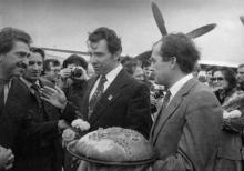 Встреча делегации из Социалистической Республики Хорватии в Одесском аэропорту. Фото ОАОО. 23 сентября 1980 г.