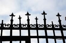 Кованая решетка на заборе по Фонтанской дороге, №№ 64/1 и 62. Фото Е. Волокина. 24 ноября 2018 г.