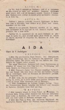 Одесский театр оперы и балета. 3-я стр. программки спектакля «Аида». 1942 г.