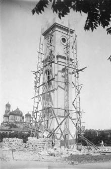 Одесса. Ремонт часовой башни на Старобазарной площади. 1930-е гг.