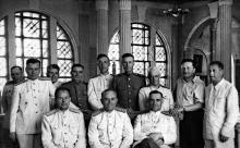 Приемка нового здания вокзала. К.Б. Корченов крайний справа. 1952 г.