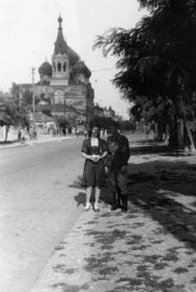 Одесса. На Пантелеймоновской улице. Вид на церковь св. Пантелеймона. 1942–1943 гг.