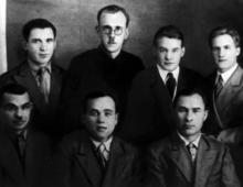 Редакция газеты «Пролетарская мысль», Пуриц Р.Я. в верхнем ряду, второй справа. Январь, 1938 г.