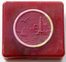 Пудреница с изображением маяка. Одесса. Техпластмасса
