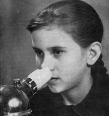 Ингаляция. Фото в брошюре «Здравницы Хаджибея». 1970 г.