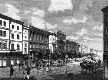 Одесса. Николаевский бульвар. Справа здание — фантазия художника