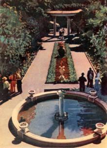 Главная аллея санатория «Приморье». Фото в буклете «Одесса, Аркадия». 1963 г.