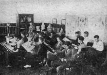 Зал рисования Одесского института зерна и муки им. И.В. Сталина. Фото в проспекте для поступающих. 1936 г.