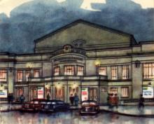 Русский драмтеатр. Рисунок в буклете «Театры Одессы». 1963 г.