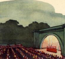 Зеленый театр. Рисунок в буклете «Театры Одессы». 1963 г.