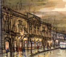 Театр музкомедии на ул. К. Либкнехта, 48. Рисунок в буклете «Театры Одессы». 1963 г.