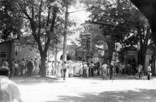 Мавританская арка на Пролетарском бульваре, № 17. Вход в Отраду. Одесса. 1980-е гг.