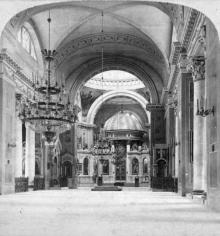 Интерьер Кафедрального собора. Одесса. Фотография-стереопара. 1898 г.