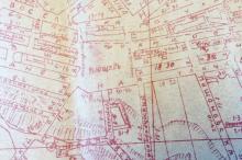 Софиевская площадь на плане города Одессы с обозначением электрического трамвая и угловых номеров. 1915 г.
