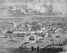 Вид Одессы с моря. Рисунок в газете. 1855 г.