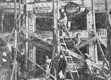 Ремонт внутри театра. Фото в журнале «Шквал», 1925 г.