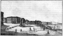 Одесса. Приморский бульвар. Памятник Ришелье. Рисунок в назете «Cosmorama» № 13, 1838 г.