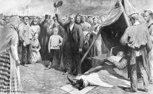 Тело убитого моряка Омельчука на новом молу Одессы. Рисунок французского художника Луиса Реми Сабаттиера в журнале «Иллюстрации», 15 июля 1905 г.