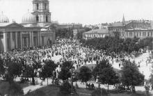 Одесса. Вид на Соборная площадь и Преображенский собор. 1918 г.