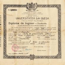 Диплом инженера-конструктора, выданный Одесским университетом 15 марта 1944 г.