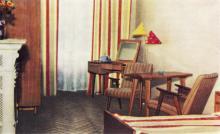 Одноместный номер со всеми удобствами в гостинице «Одесса». Фото в буклете «Hotel «Odessa». 1960-е гг.