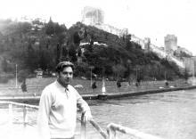 И.Ф. Демьянов на судне во время прохода через Босфор, крепость Румелихисар, Стамбул. 1971 г.