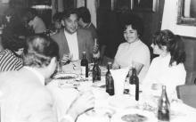 И.Ф. Демьянов с женой Галиной и дочерью Людмилой в кают-компании танкера «Пекин». 7 ноября 1974 г.