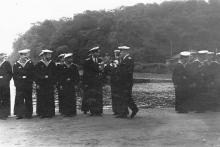 Торжественная благодарность И.Ф. Демьянову за службу во время зимовки на льдине. 1958 г.