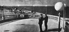 Одесса. Вид на Карантинный мол порта и маяк с открытой площадки ресторана в парке Шевченко. Фото В. Шайхета. 1936 г.