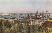 Одесса. Вид на порт, Новый мол. Цветное фото М. Альперта. Почтовая карточка. 1956 г.