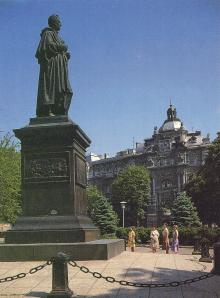Памятник графу Воронцову. Фотография из набора «Одесса», изданного фирмой «Летописец». 1996 г.