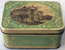 Металлическая коробочка от карамели кондитерской фабрики им. Р. Люксембург с фотографией театра оперы и балета. 1950-е гг.