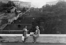 Потемкинская лестница, начало строительства эскалатора. Одесса, 1969 г.