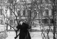 Одесса. Городской сад. Слева попала в кадр ограда тополя. 1960-е гг.