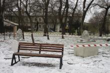 Воссозданные скульптуры львов в Мечниковском сквере. Фото Марии Котовой. Одесса, 08 декабря 2020 г.