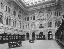 Центральный зал Одесской почтово-телеграфной конторы, фотография конца ХIХ - начала ХХ вв.