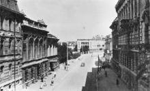 Одесса. Сабанеев мост. Отретушированная фотография на разрешенной цензурой сигнальной фотооткрытке. 1950 г.