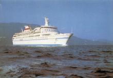Теплоход «Азербайджан». Фото П. Шраго на последней странице обложки набора открыток «Одесса — Одеса». Набор выпущен в 1989 г.