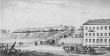 Одесса. Вид на бульварную лестницу с набережной. Литография Федора Гросса. 1854 г.