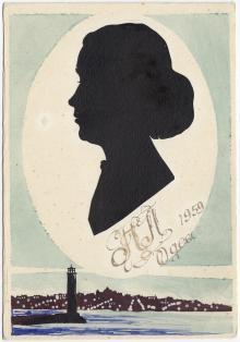 Силуэт женщины на открытке ручной работы. Одесса. 1959 г.