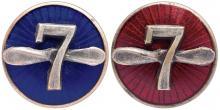 Знаки Одесских Государственных авиационных мастерских № 7. Бронза, серебрение, эмаль. Диам. 15,7 мм.